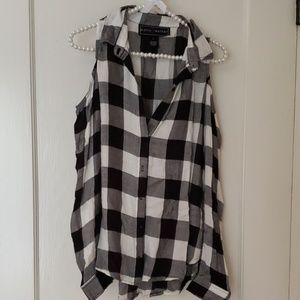 Cold shoulder Plaid Shirt